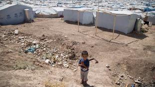 A Syrian boy in a Lebanon refugee camp