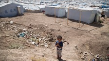 A Syrian boy in a Lebanon refugee camp