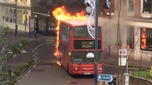 Bus on fire on Market Street Kingston