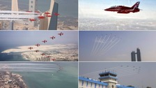 A selection of images from the RAF Red Arrows tour