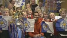 Young Leicester City fans are surprised by Riyad Mahrez