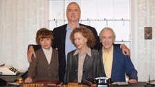 Andrews Sachs with his Fawlty Towers cast members Prunella Scales, John Cleese and Connie Booth.