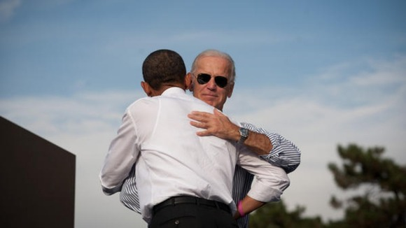 Joe Biden's team has posted this picture of the Vice President embracing Barack Obama