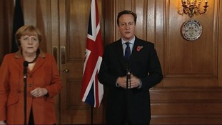 Prime Minister David Cameron and German Chancellor Angela Merkel host a joint press conference in Downing Street