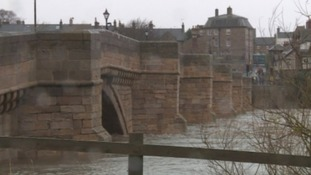The River Tyne at Corbridge during the Storm
