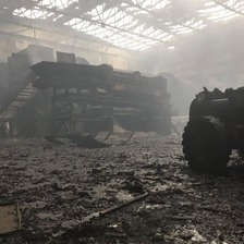 The remains of the plant following the fire