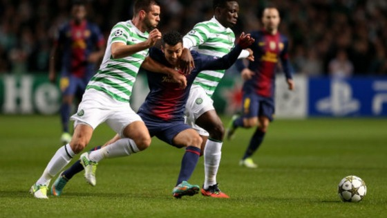 Celtic's Victor Wanyama (right) and Joe Ledley in action with Barcelona's Pedro Rodriguez