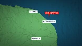 The cargo vessel has run aground off Happisburgh