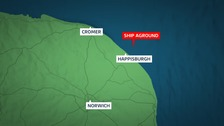 The cargo vessel has run aground off Happisburgh