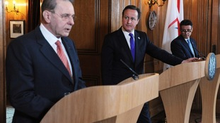 Prime Minister David Cameron with IOC President Jacques Rogge and Lord Coe at 10 Downing Street.