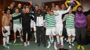Celtic players celebrate in Glasgow