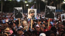 Thousands gather as Castro nears end of final journey