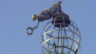Terpsichore was left hanging from the top of the tower