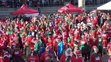 Hundreds gather in Cardiff to take part in Santa Dash