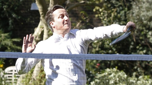 David Cameron enjoyed a game of badminton in Downing Street today.