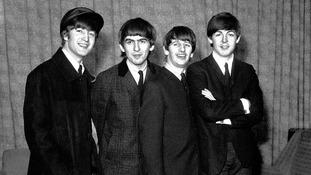 John Lennon, George Harrison, Ringo Starr and Paul McCartney of The Beatles.