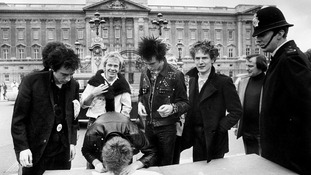 Johnny Rotten, Steve Jones, Paul Cook, new bass player Syd Vicious and the group's manager Malcolm McLaren pictured in 1977.