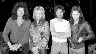 British rock group Queen pictured in 1977: (From left) Brian May, Roger Taylor, Freddie Mercury and John Deacon.
