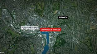 The fire has closed Grimwade Street in Ipswich