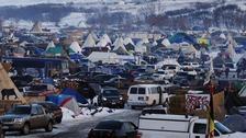 People fill the Oceti Sakowin camp as 'water protectors' continue to demonstrate against the Dakota Access pipeline