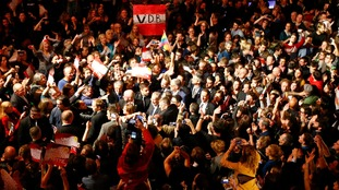 Supporters celebrate at Alexander Van der Bellen's victory party