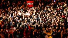 Supporters celebrate at Alexander Van der Bellen's victory party