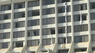 Guests used bedsheets to climb down from windows.
