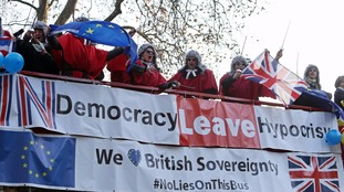 Pro-Remain supporters led a protest outside the Supreme Court against the Government's attempt to overturn the High Court ruling.