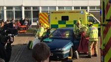 Emergency services demonstrating what can happen in a road crash