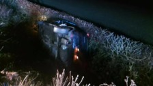 Three injured after car ends up in ditch