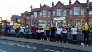 Teaching assistants on the picket line outside Timothy Hackworth Primary School in Shildon, November 2016