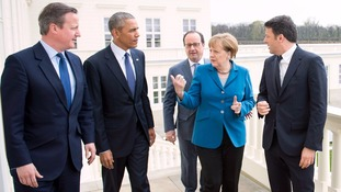 The leaders speak at a G5 summit in April.