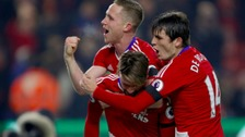 Middlesbrough's Marten de Roon and Middlesbrough's Adam Forshaw celebrate with Middlesbrough's Gaston Ramirez after scoring