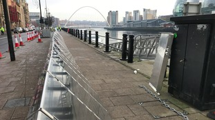 Flood barriers going up on Newcastle's Quayside as a part of a training exercise by the Environment Agency.