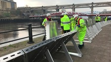 Flood defences put to the test on Newcastle's Quayside