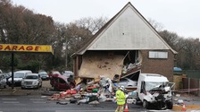 Building collapses by A27 after being hit by van