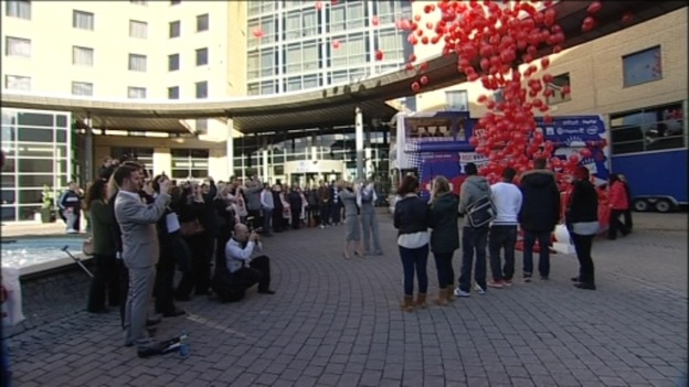 Hundreds of balloons were released to symbolise the region's 7000 unemployed