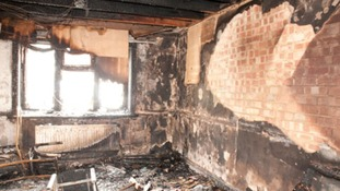 Damage caused by the fire which is believed to have started in the living room at the back of the house.