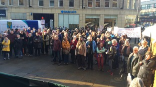 Tree felling protest outside Sheffield town hall