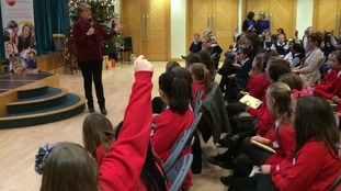 Clare Balding talks to schoolchildren