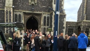 Mourners gather at St Mary's Church