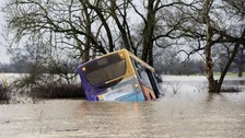 The bus became stranded in flood water near Newton-on-Ouse.