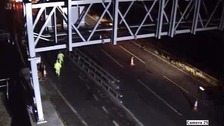 Watch: Driver ploughs through closed motorway section