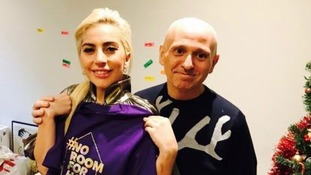 Superstar Lady Gaga with Manchester-based Tim Sigsworth MBE