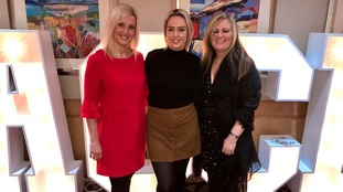 ITV Calendar's Sally Simpson, patron of MY Burns Unit; patient Maya Fieldhouse; and MY Burns Club leader Tracy Foster.