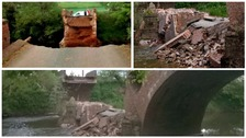 Eastham Bridge collaped in to the River Teme in May