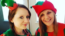 Alice Hughes (seen here on the right) works with her friend Jordan Franklin as a professional elf