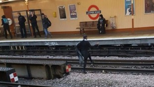 Schoolgirl risks life strolling across 630 volt tracks