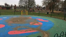Vandals poured concrete into the playground's water features