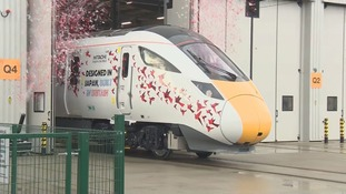 The first UK-built Intercity Express train coming out the factory in County Durham.